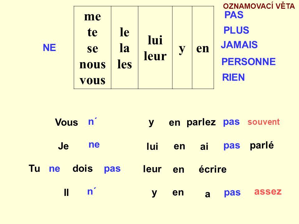 le la les moi toi lui nous vous leur yen Postavení zájmenných předmětů a zájmenných příslovcí ve větě SLOVESO 3.pád 4.