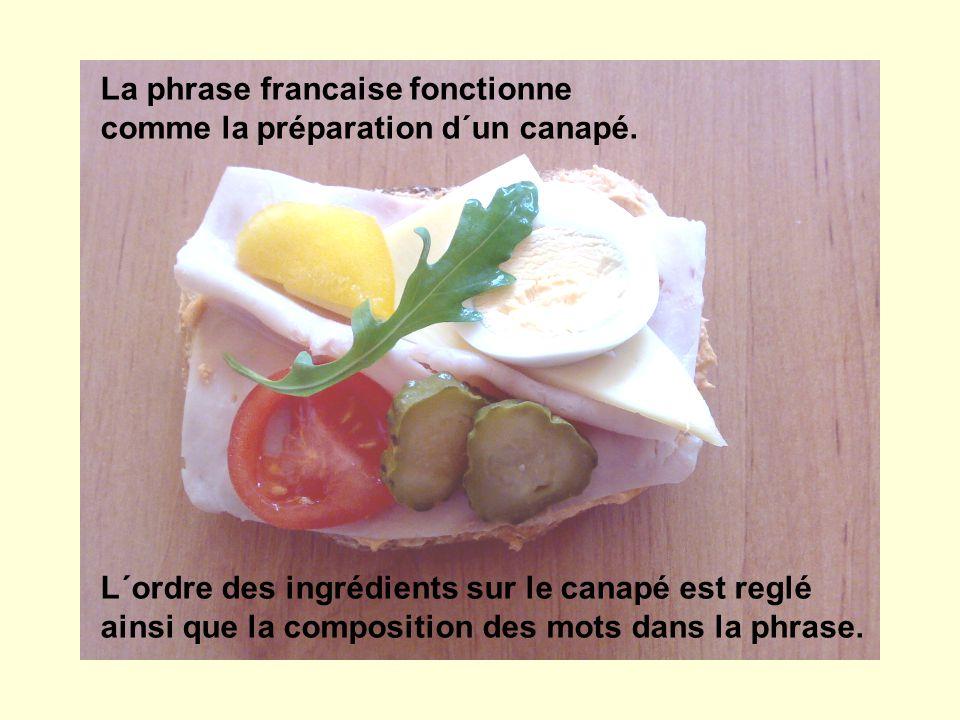La phrase francaise fonctionne comme la préparation d´un canapé. L´ordre des ingrédients sur le canapé est reglé ainsi que la composition des mots dan