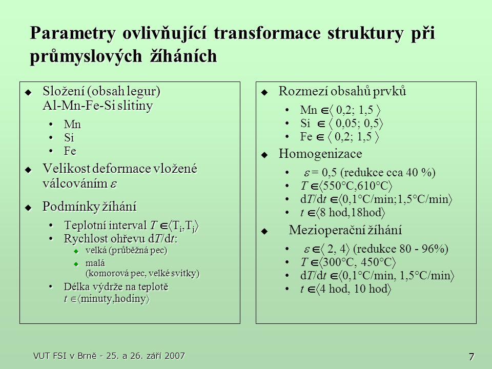 8 Laboratorní metody studia transformací při žíhání  Pomalý ohřev s lineárním růstem teploty dT/dt ~ 0,5 – 2 °C/min In-situ rezistometrická meřeníIn-situ rezistometrická meření  Rezistometrické křivky R = f (T)  Křivky normované derivace rezistivity (1/R)(dR/dT) = f (T) Strukturní rozbory vzorků rychle ochlazených z význačných bodů křivek derivace odporu ( výrazné změny složení tuhého roztoku)Strukturní rozbory vzorků rychle ochlazených z význačných bodů křivek derivace odporu ( výrazné změny složení tuhého roztoku)  Světelná mikroskopie (SM) – primární fáze, zrna, precipitáty (hrubé)  Skenovací elektronová mikroskopie (SEM) – fáze, precipitáty, odpevnění, textura  Transmisní elektronová mikroskopie (TEM) – substruktura, fáze, precipitáty Měření vlastnostíMěření vlastností  Tvrdost  Mechanické vlastnosti  Elektrická konduktivita  Rychlý ohřev ( dT/dt > 100°C/min ) + krátké ( max 30 min.