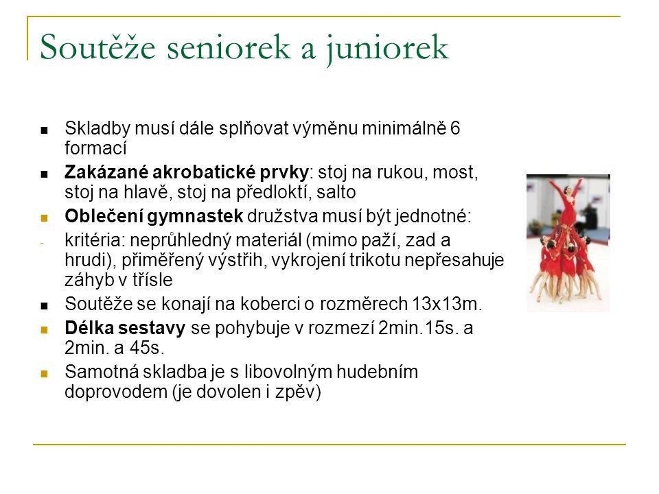 Soutěže seniorek a juniorek Skladby musí dále splňovat výměnu minimálně 6 formací Zakázané akrobatické prvky: stoj na rukou, most, stoj na hlavě, stoj