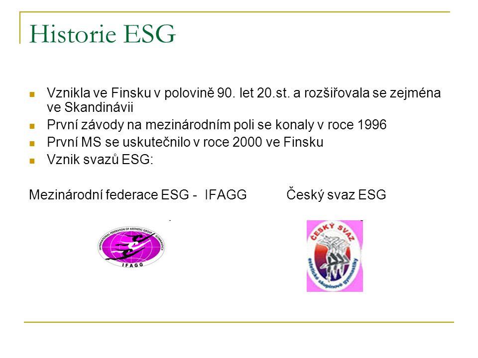 Historie ESG Vznikla ve Finsku v polovině 90. let 20.st. a rozšiřovala se zejména ve Skandinávii První závody na mezinárodním poli se konaly v roce 19