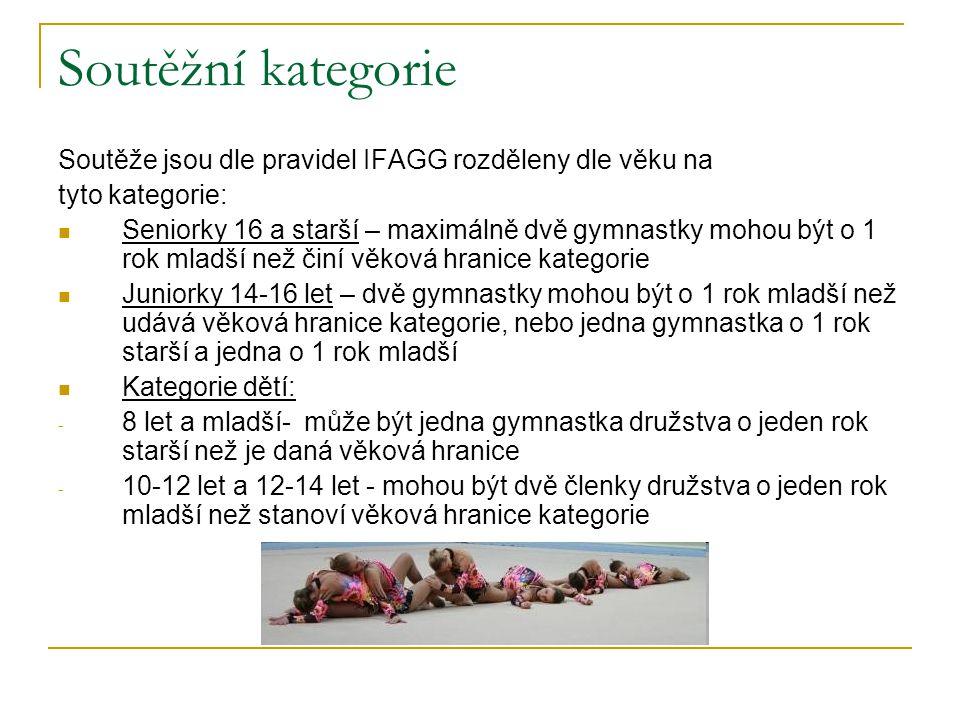 Soutěžní kategorie Soutěže jsou dle pravidel IFAGG rozděleny dle věku na tyto kategorie: Seniorky 16 a starší – maximálně dvě gymnastky mohou být o 1