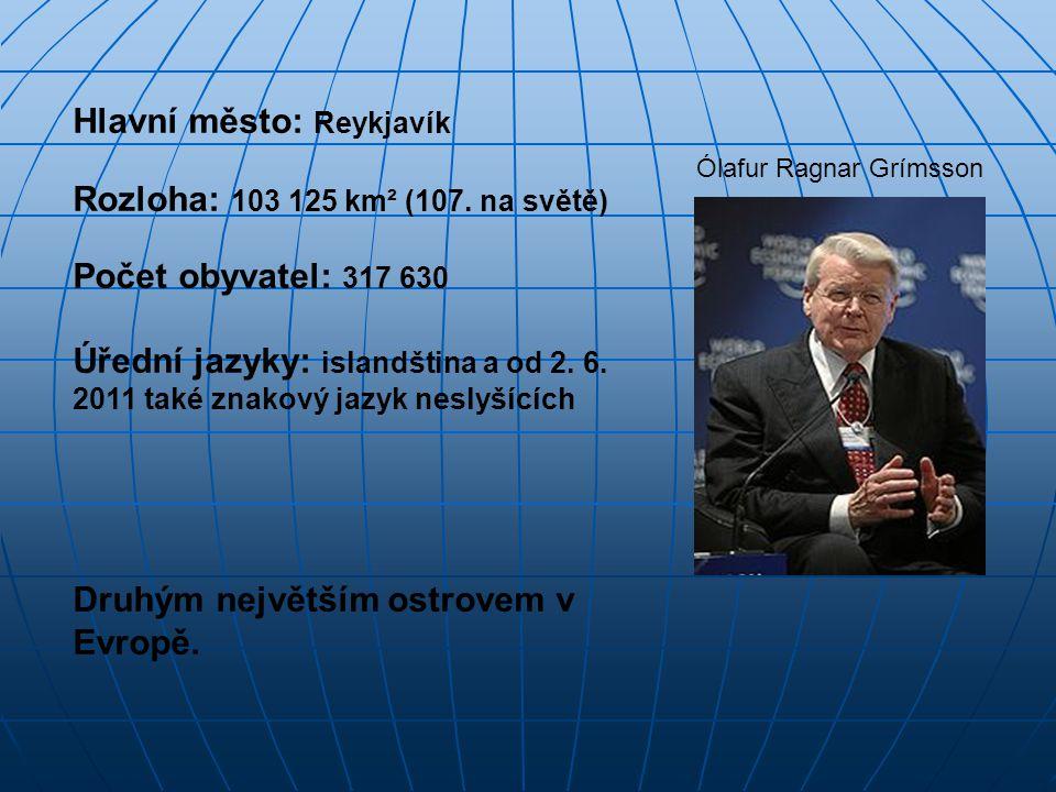 Hlavní město: Reykjavík Rozloha: 103 125 km² (107. na světě) Počet obyvatel: 317 630 Úřední jazyky: islandština a od 2. 6. 2011 také znakový jazyk nes