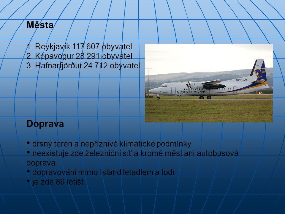 Města 1. Reykjavík 117 607 obyvatel 2. Kópavogur 28 291 obyvatel 3. Hafnarfjörður 24 712 obyvatel Doprava drsný terén a nepříznivé klimatické podmínky