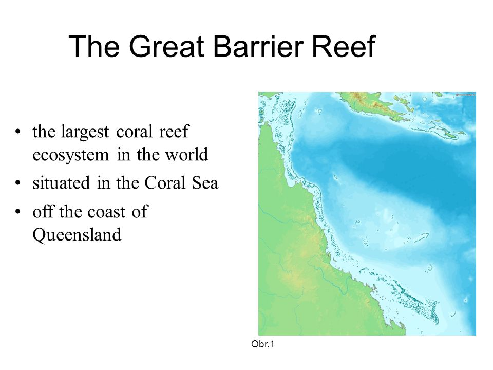 The Great Barrier Reef the largest coral reef ecosystem in the world situated in the Coral Sea off the coast of Queensland Obr.1