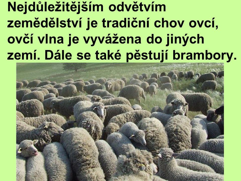 Nejdůležitějším odvětvím zemědělství je tradiční chov ovcí, ovčí vlna je vyvážena do jiných zemí. Dále se také pěstují brambory.