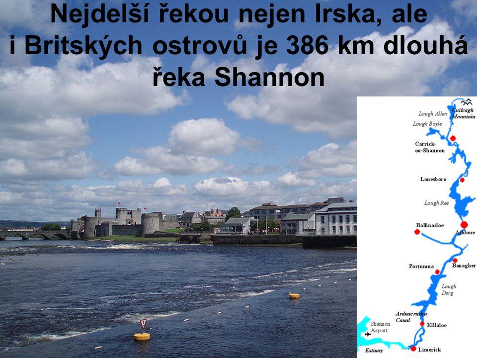 Nejdelší řekou nejen Irska, ale i Britských ostrovů je 386 km dlouhá řeka Shannon