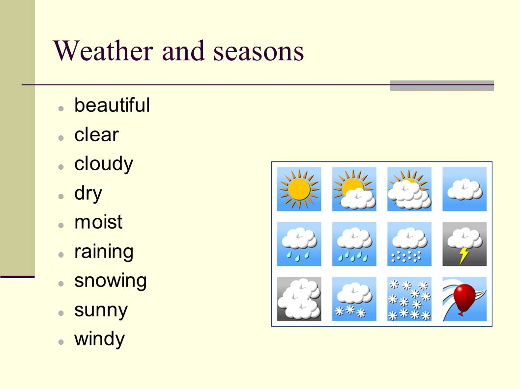 Weather and seasons beautiful clear cloudy dry moist raining snowing sunny windy