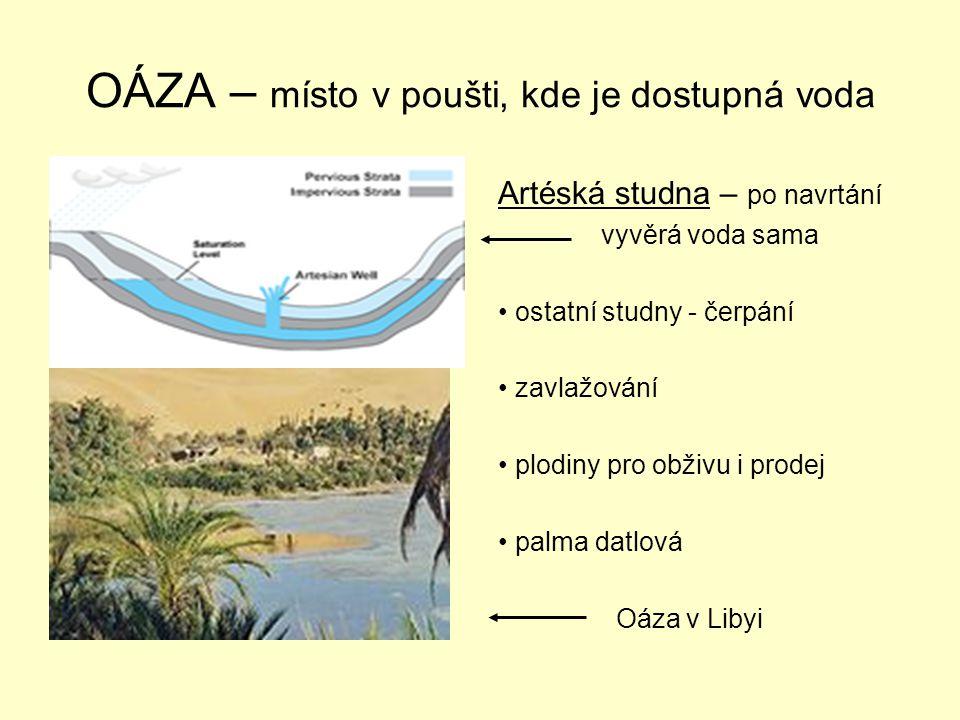 OÁZA – místo v poušti, kde je dostupná voda Artéská studna – po navrtání vyvěrá voda sama ostatní studny - čerpání zavlažování plodiny pro obživu i prodej palma datlová Oáza v Libyi
