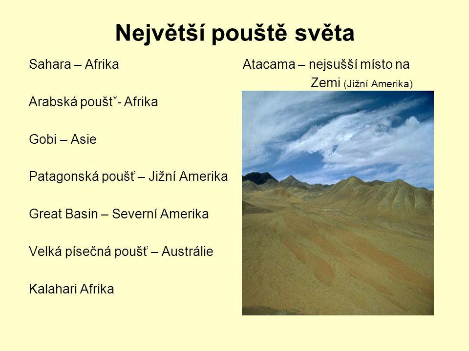 Největší pouště světa Sahara – Afrika Arabská pouštˇ- Afrika Gobi – Asie Patagonská poušť – Jižní Amerika Great Basin – Severní Amerika Velká písečná