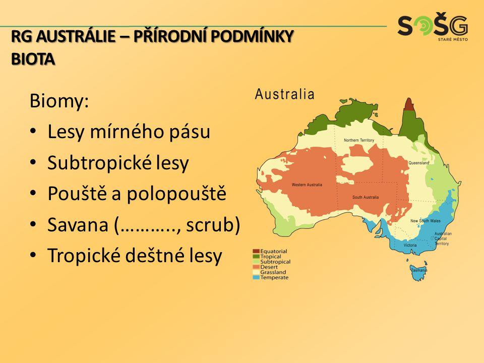 Biomy: Lesy mírného pásu Subtropické lesy Pouště a polopouště Savana (……….., scrub) Tropické deštné lesy RG AUSTRÁLIE – PŘÍRODNÍ PODMÍNKY BIOTA