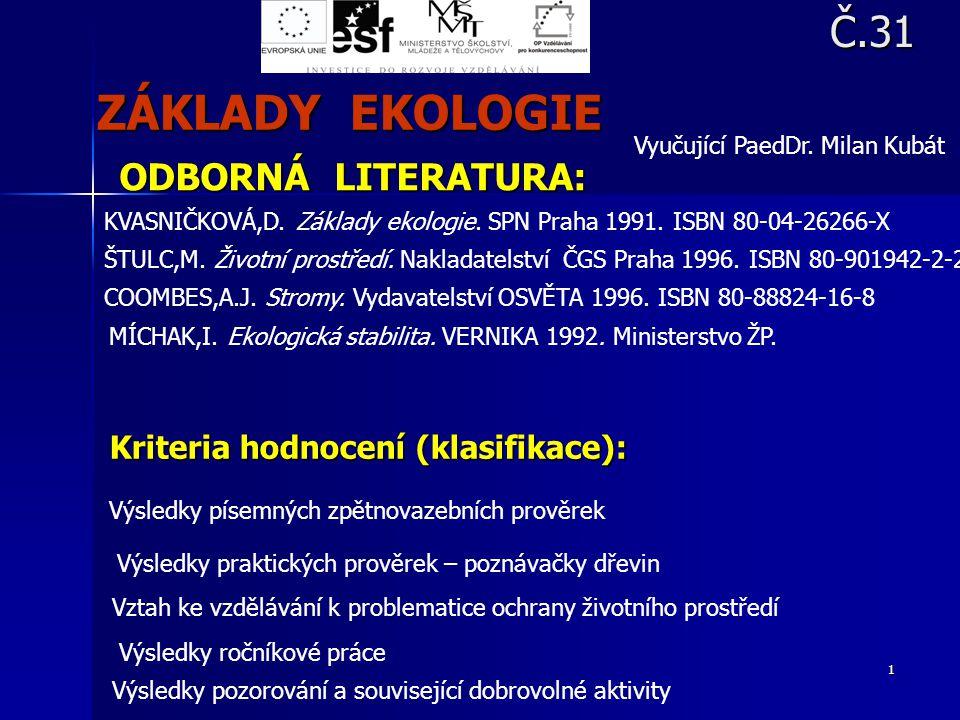 1 ODBORNÁ LITERATURA: KVASNIČKOVÁ,D. Základy ekologie. SPN Praha 1991. ISBN 80-04-26266-X ŠTULC,M. Životní prostředí. Nakladatelství ČGS Praha 1996. I