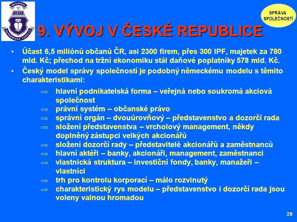 9. VÝVOJ V ČESKÉ REPUBLICE 9. VÝVOJ V ČESKÉ REPUBLICE Účast 6,5 miliónů občanů ČR, asi 2300 firem, přes 300 IPF, majetek za 780 mld. Kč; přechod na tr