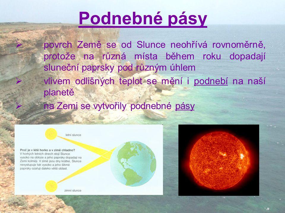 Podnebné pásy  povrch Země se od Slunce neohřívá rovnoměrně, protože na různá místa během roku dopadají sluneční paprsky pod různým úhlem  vlivem od