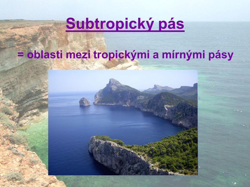 Subtropický pás = oblasti mezi tropickými a mírnými pásy