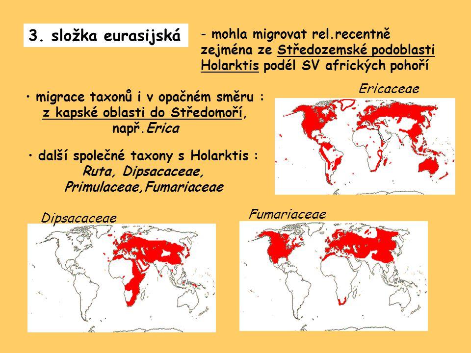 3. složka eurasijská - mohla migrovat rel.recentně zejména ze Středozemské podoblasti Holarktis podél SV afrických pohoří migrace taxonů i v opačném s