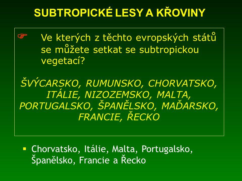 SUBTROPICKÉ LESY A KŘOVINY  Ve kterých z těchto evropských států se můžete setkat se subtropickou vegetací? ŠVÝCARSKO, RUMUNSKO, CHORVATSKO, ITÁLIE,