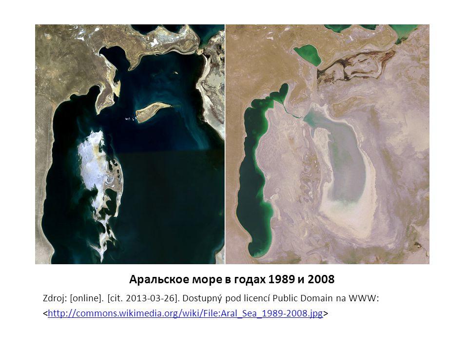 Аральское море в годах 1989 и 2008 Zdroj: [online].