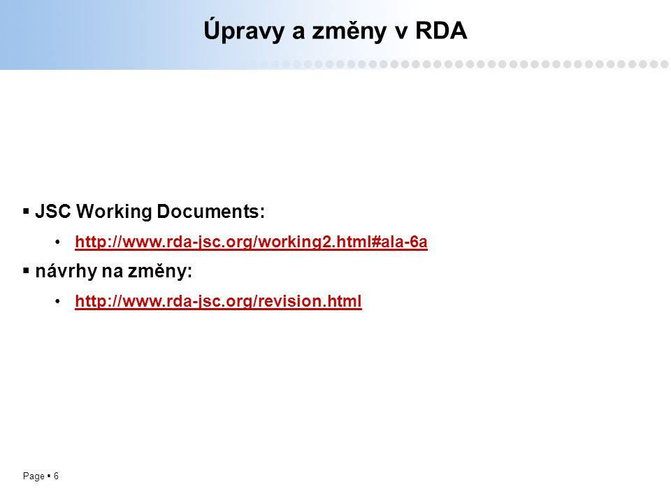 Page  6 Úpravy a změny v RDA  JSC Working Documents: http://www.rda-jsc.org/working2.html#ala-6a  návrhy na změny: http://www.rda-jsc.org/revision.html