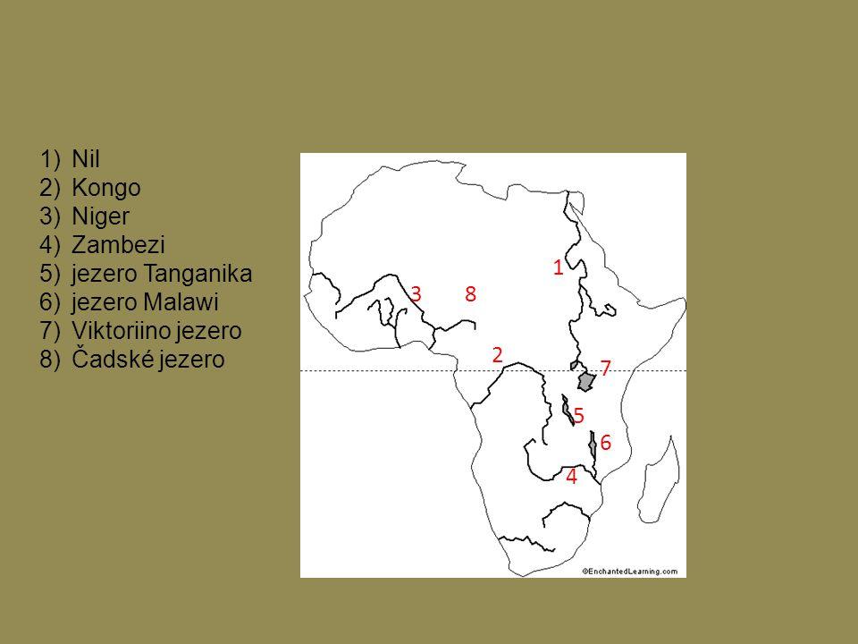 1)Nil 2)Kongo 3)Niger 4)Zambezi 5)jezero Tanganika 6)jezero Malawi 7)Viktoriino jezero 8)Čadské jezero 1 2 3 4 5 6 7 8