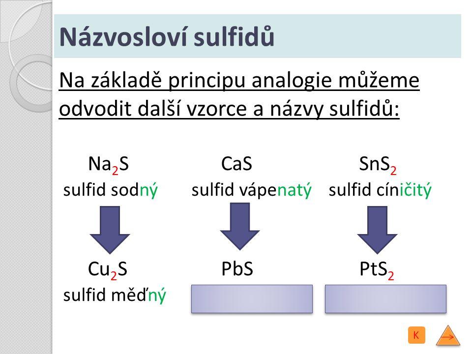 Názvosloví sulfidů Na 2 S sulfid sodný Cu 2 S sulfid měďný CaS sulfid vápenatý PbS sulfid olovnatý SnS 2 sulfid cíničitý PtS 2 sulfid platičitý Na zák