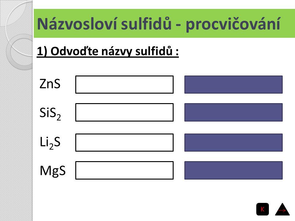Názvosloví sulfidů - procvičování ZnS SiS 2 Li 2 S MgS sulfid zinečnatý sulfid křemičitý sulfid lithný sulfid hořečnatý 1) Odvoďte názvy sulfidů : K