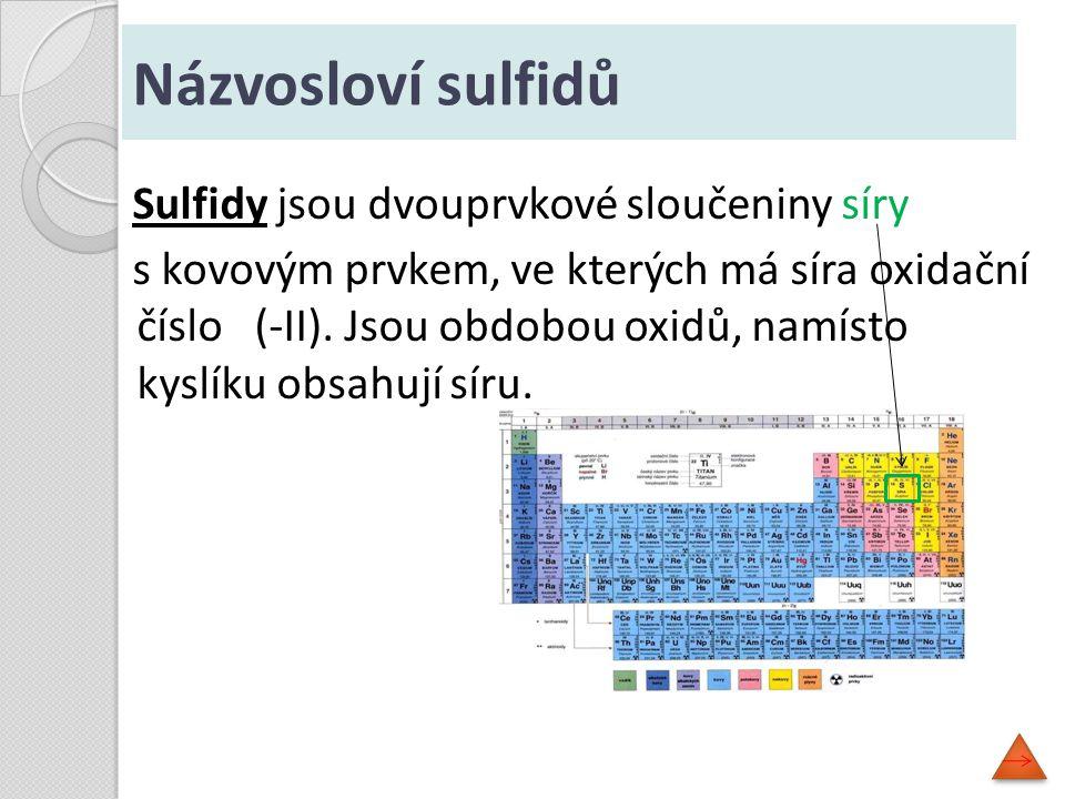 Sulfidy jsou dvouprvkové sloučeniny síry s kovovým prvkem, ve kterých má síra oxidační číslo (-II). Jsou obdobou oxidů, namísto kyslíku obsahují síru.