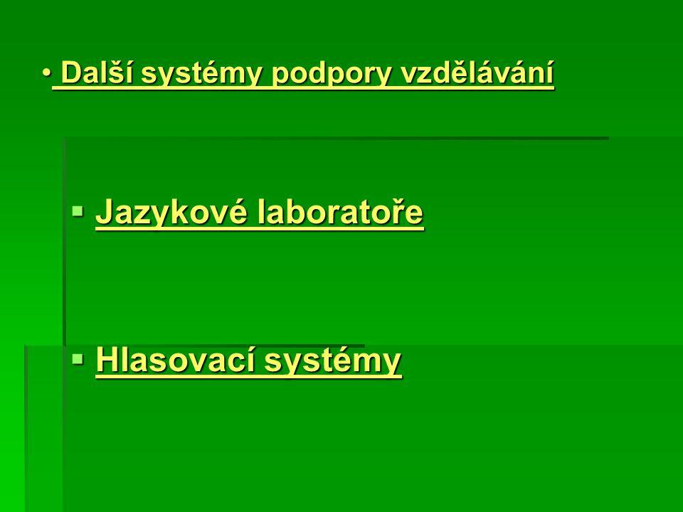 Další systémy podpory vzdělávání Další systémy podpory vzdělávání  Jazykové laboratoře  Hlasovací systémy