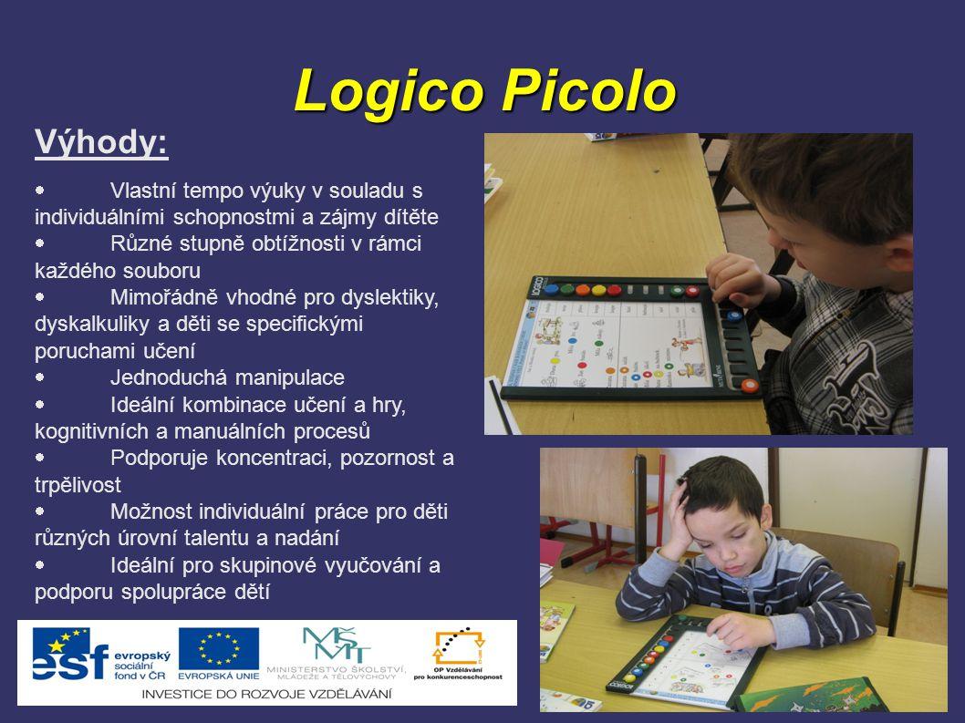 Logico Picolo Výhody:  Vlastní tempo výuky v souladu s individuálními schopnostmi a zájmy dítěte  Různé stupně obtížnosti v rámci každého souboru 