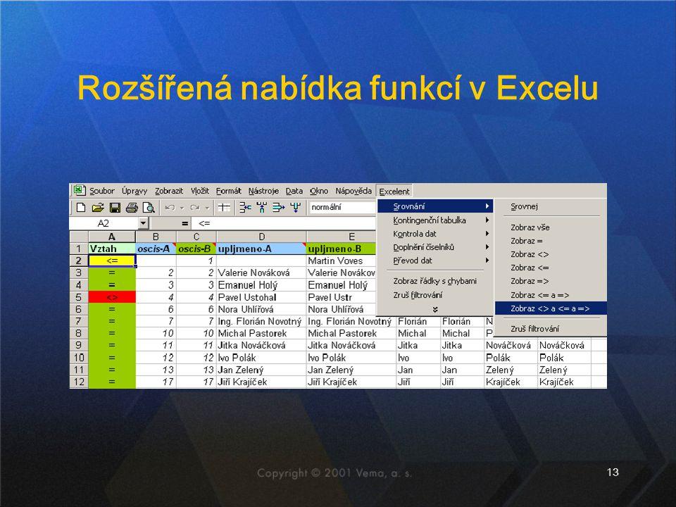 13 Rozšířená nabídka funkcí v Excelu