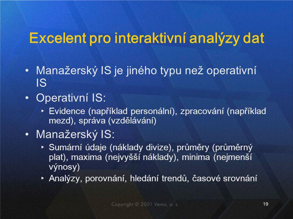 19 Excelent pro interaktivní analýzy dat Manažerský IS je jiného typu než operativní IS Operativní IS: ▸Evidence (například personální), zpracování (n