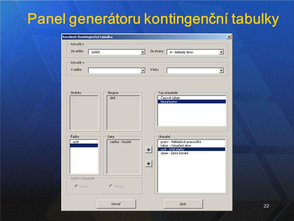 22 Panel generátoru kontingenční tabulky