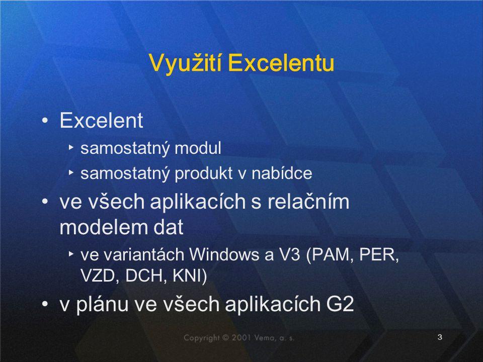 3 Využití Excelentu Excelent ▸samostatný modul ▸samostatný produkt v nabídce ve všech aplikacích s relačním modelem dat ▸ve variantách Windows a V3 (P
