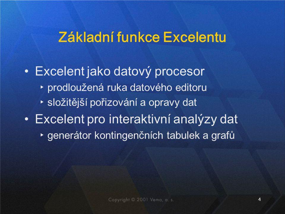 4 Základní funkce Excelentu Excelent jako datový procesor ▸prodloužená ruka datového editoru ▸složitější pořizování a opravy dat Excelent pro interakt
