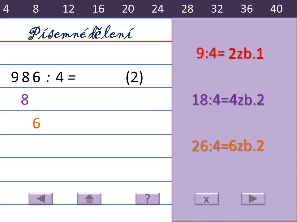6zb.2 2zb.1 4zb.2 986:4= 9:4= 21 818:4=42 6 26:4=62 Písemné d ě lení x x (2) 481216202428323640 ? ?