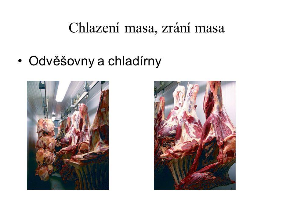 Chlazení masa, zrání masa Odvěšovny a chladírny