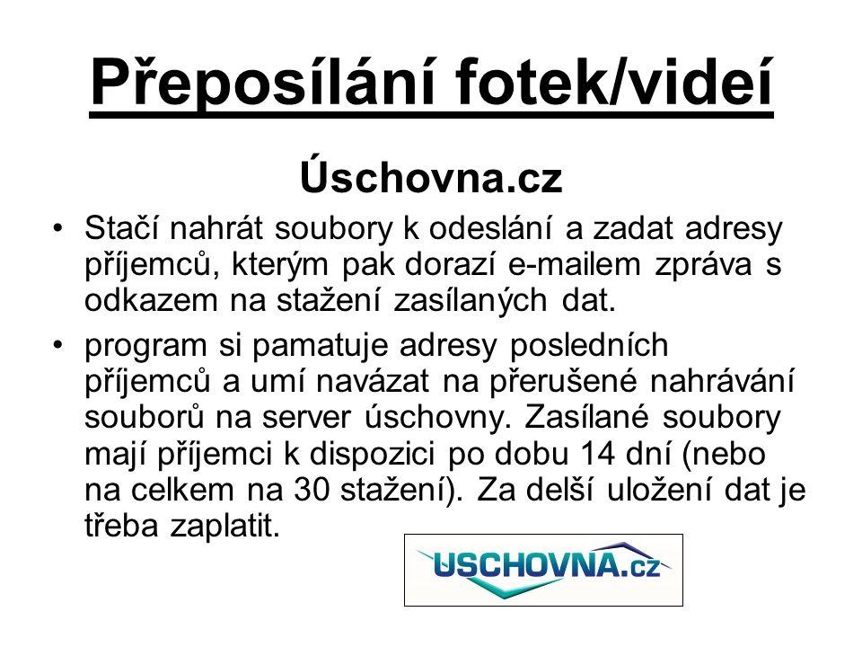 Přeposílání fotek/videí Úschovna.cz Stačí nahrát soubory k odeslání a zadat adresy příjemců, kterým pak dorazí e-mailem zpráva s odkazem na stažení zasílaných dat.