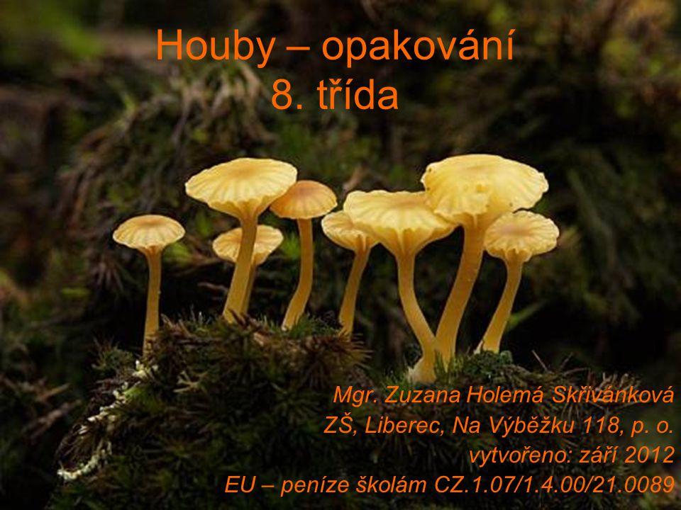 Houby – opakování 8. třída Mgr. Zuzana Holemá Skřivánková ZŠ, Liberec, Na Výběžku 118, p. o. vytvořeno: září 2012 EU – peníze školám CZ.1.07/1.4.00/21
