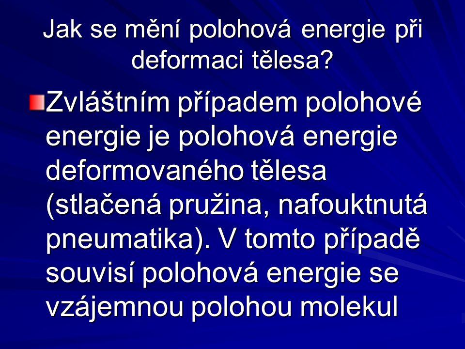 Jak se mění polohová energie při deformaci tělesa? Zvláštním případem polohové energie je polohová energie deformovaného tělesa (stlačená pružina, naf