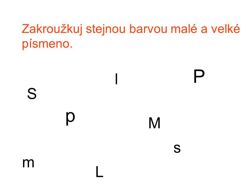 Zakroužkuj stejnou barvou malé a velké písmeno. p P S s l L M m