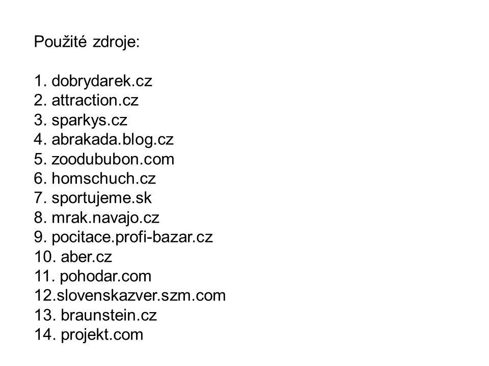 Použité zdroje: 1. dobrydarek.cz 2. attraction.cz 3. sparkys.cz 4. abrakada.blog.cz 5. zoodububon.com 6. homschuch.cz 7. sportujeme.sk 8. mrak.navajo.