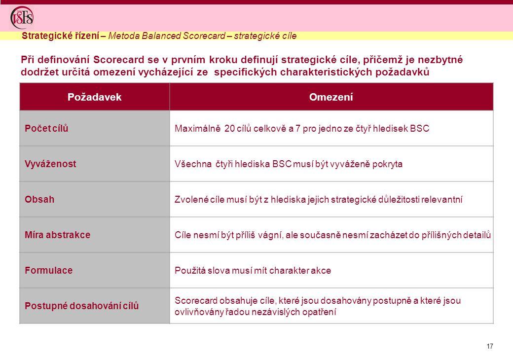 17 Při definování Scorecard se v prvním kroku definují strategické cíle, přičemž je nezbytné dodržet určitá omezení vycházející ze specifických charakteristických požadavků PožadavekOmezení Počet cílůMaximálně 20 cílů celkově a 7 pro jedno ze čtyř hledisek BSC VyváženostVšechna čtyři hlediska BSC musí být vyváženě pokryta ObsahZvolené cíle musí být z hlediska jejich strategické důležitosti relevantní Míra abstrakceCíle nesmí být příliš vágní, ale současně nesmí zacházet do přílišných detailů FormulacePoužitá slova musí mít charakter akce Postupné dosahování cílů Scorecard obsahuje cíle, které jsou dosahovány postupně a které jsou ovlivňovány řadou nezávislých opatření Strategické řízení – Metoda Balanced Scorecard – strategické cíle