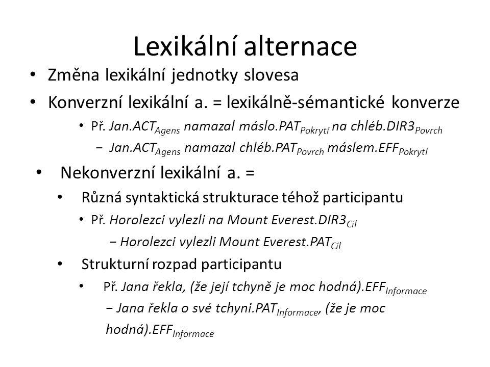 Lexikální alternace Změna lexikální jednotky slovesa Konverzní lexikální a. = lexikálně-sémantické konverze Př. Jan.ACT Agens namazal máslo.PAT Pokryt