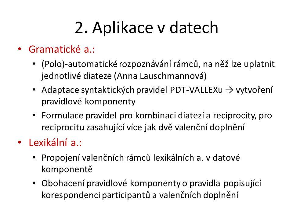 2. Aplikace v datech Gramatické a.: (Polo)-automatické rozpoznávání rámců, na něž lze uplatnit jednotlivé diateze (Anna Lauschmannová) Adaptace syntak