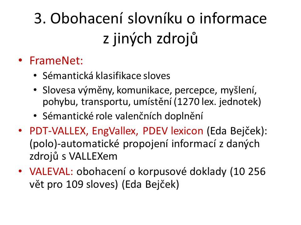 3. Obohacení slovníku o informace z jiných zdrojů FrameNet: Sémantická klasifikace sloves Slovesa výměny, komunikace, percepce, myšlení, pohybu, trans