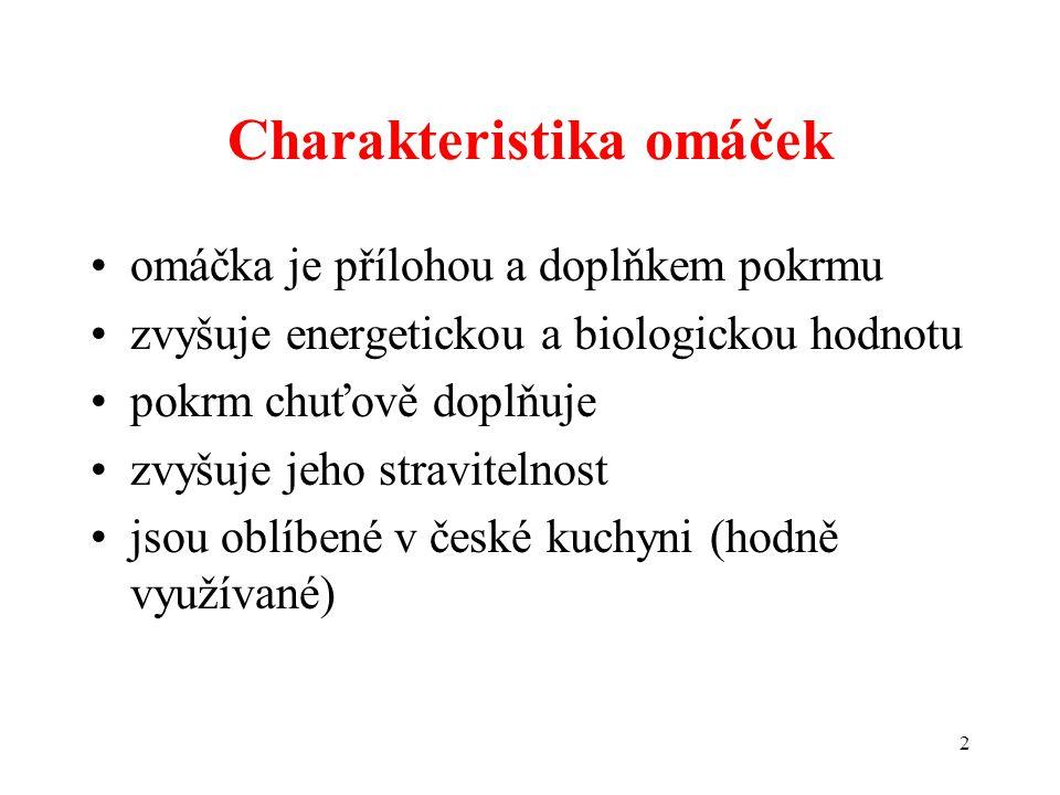 Charakteristika omáček omáčka je přílohou a doplňkem pokrmu zvyšuje energetickou a biologickou hodnotu pokrm chuťově doplňuje zvyšuje jeho stravitelnost jsou oblíbené v české kuchyni (hodně využívané) 2