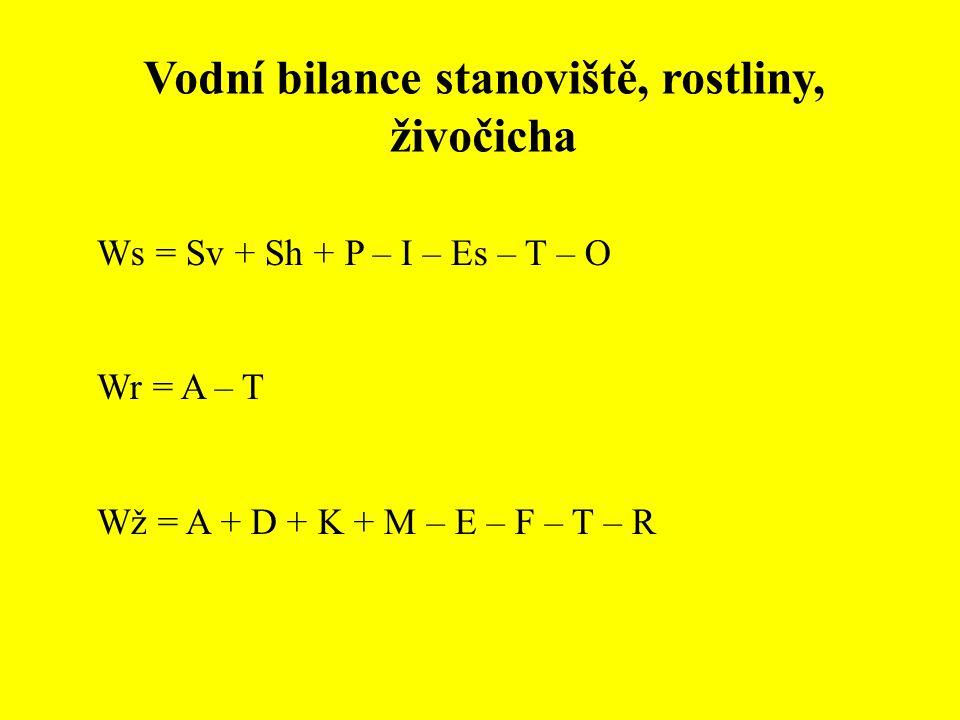 Vodní bilance stanoviště, rostliny, živočicha Ws = Sv + Sh + P – I – Es – T – O Wr = A – T Wž = A + D + K + M – E – F – T – R