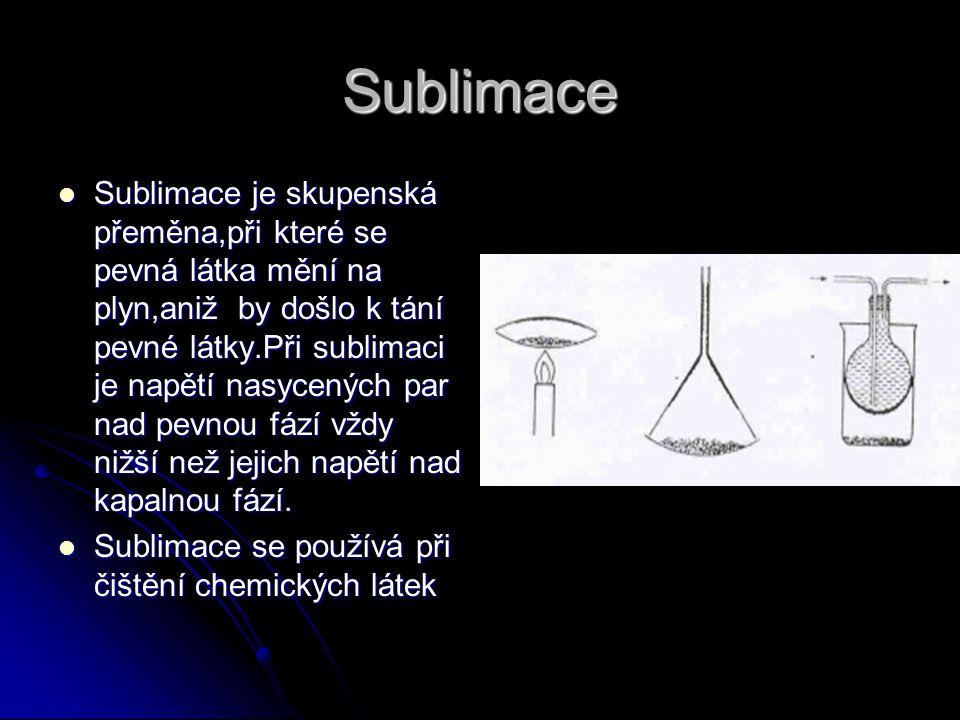 Sublimace Sublimace je skupenská přeměna,při které se pevná látka mění na plyn,aniž by došlo k tání pevné látky.Při sublimaci je napětí nasycených par