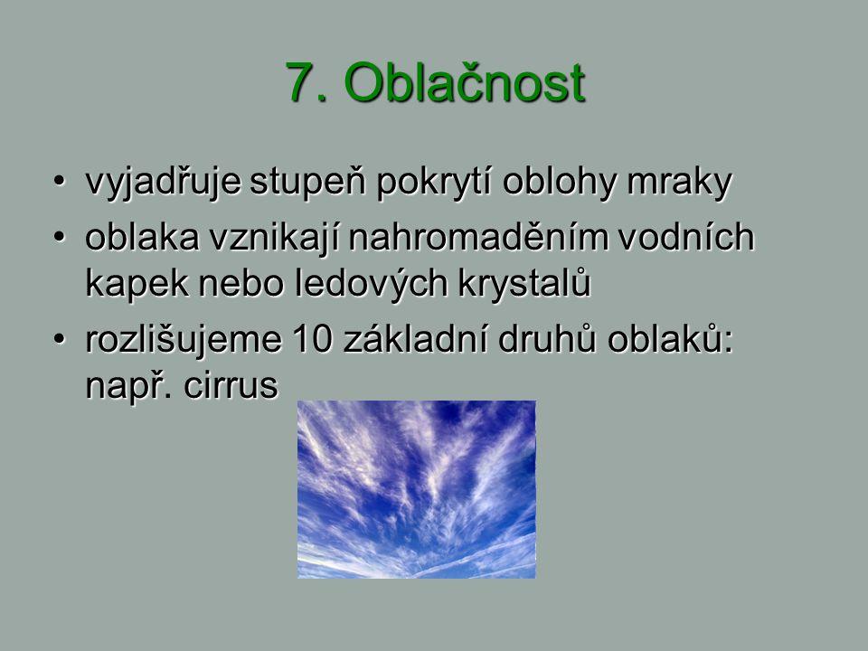 7. Oblačnost vyjadřujestupeňpokrytíoblohymrakyvyjadřuje stupeň pokrytí oblohy mraky oblakavznikajínahromaděnímvodních kapekneboledovýchkrystalůoblaka
