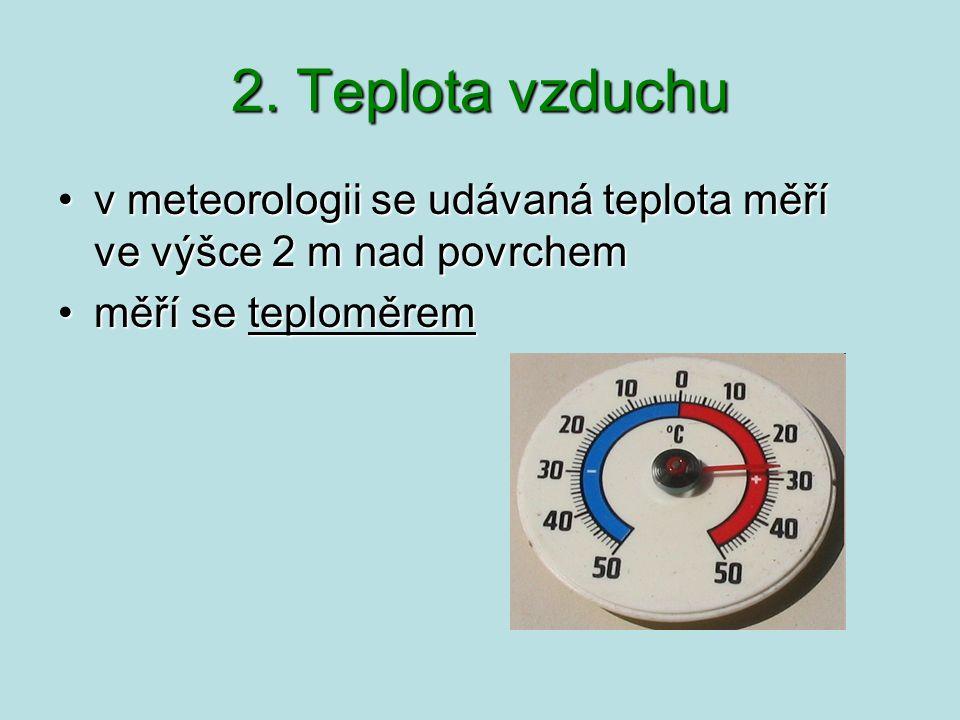 2. Teplota vzduchu vmeteorologii se udávaná teplota měří vevýšce 2 m nad povrchemv meteorologii se udávaná teplota měří ve výšce 2 m nad povrchem měří